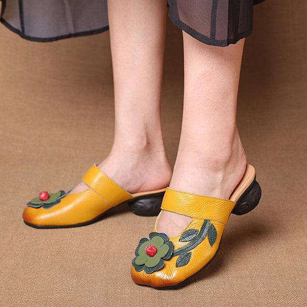 Women¡¯s Soft Leather Flowers Square Closed Toe Slippers