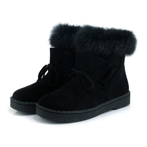 Women Winter Warm Rabbit Fur Side Zipper Ankle Boots