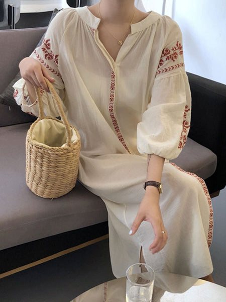 As Picture Casual V Neck Cotton Dresses