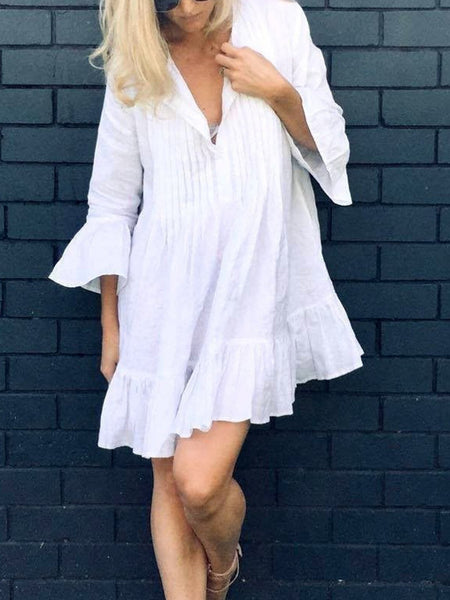 White Cotton Sexy Solid Dresses