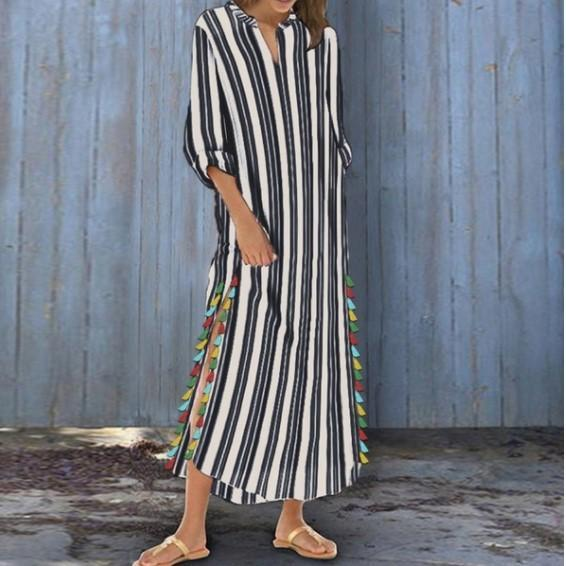 Plus Size White Striped Crew Neck 3/4 Sleeve Maxi Dress