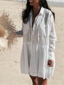 White Shirt Collar Holiday Buttoned Long Sleeve Pockets Dress