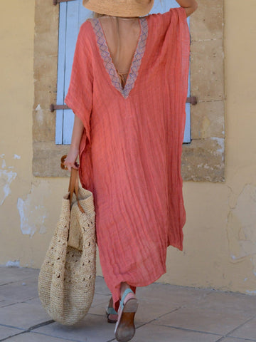 Coral Red Stylish Linen Poncho Beach Coverup With Lace V Neck Dress
