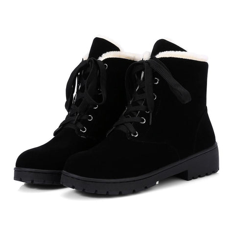 Women Winter Non-slip Warm Plush Lace-up Boots