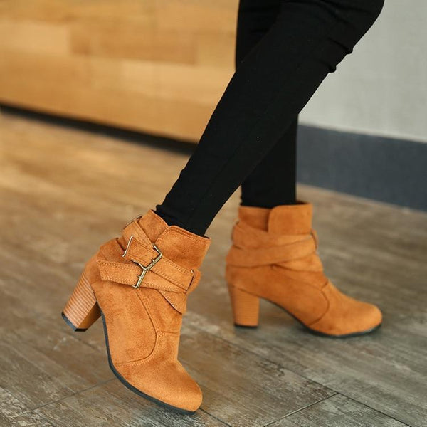 Women Boots Casual Ladies Martin Suede Leather Shoes