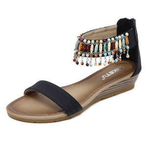 Womens Beaded Back Zip Bohemia Summer Wedge Sandals