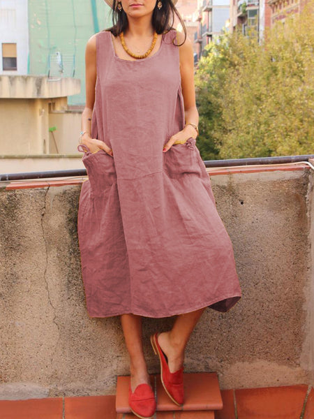 Women's Sleeveless U-neck Sling Solid Loose Dresses