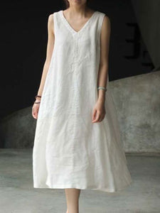 Fashion Women Summer Loose Casual Linen Style Dresses