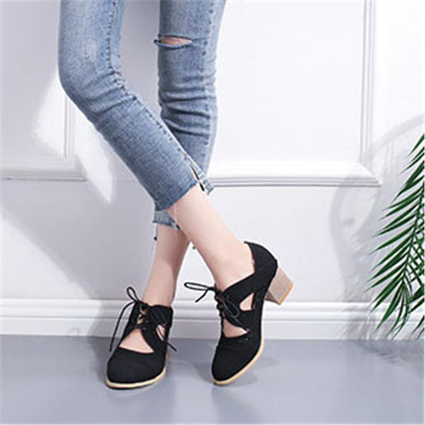 New Carved Breathable Vintage Chunky Heel
