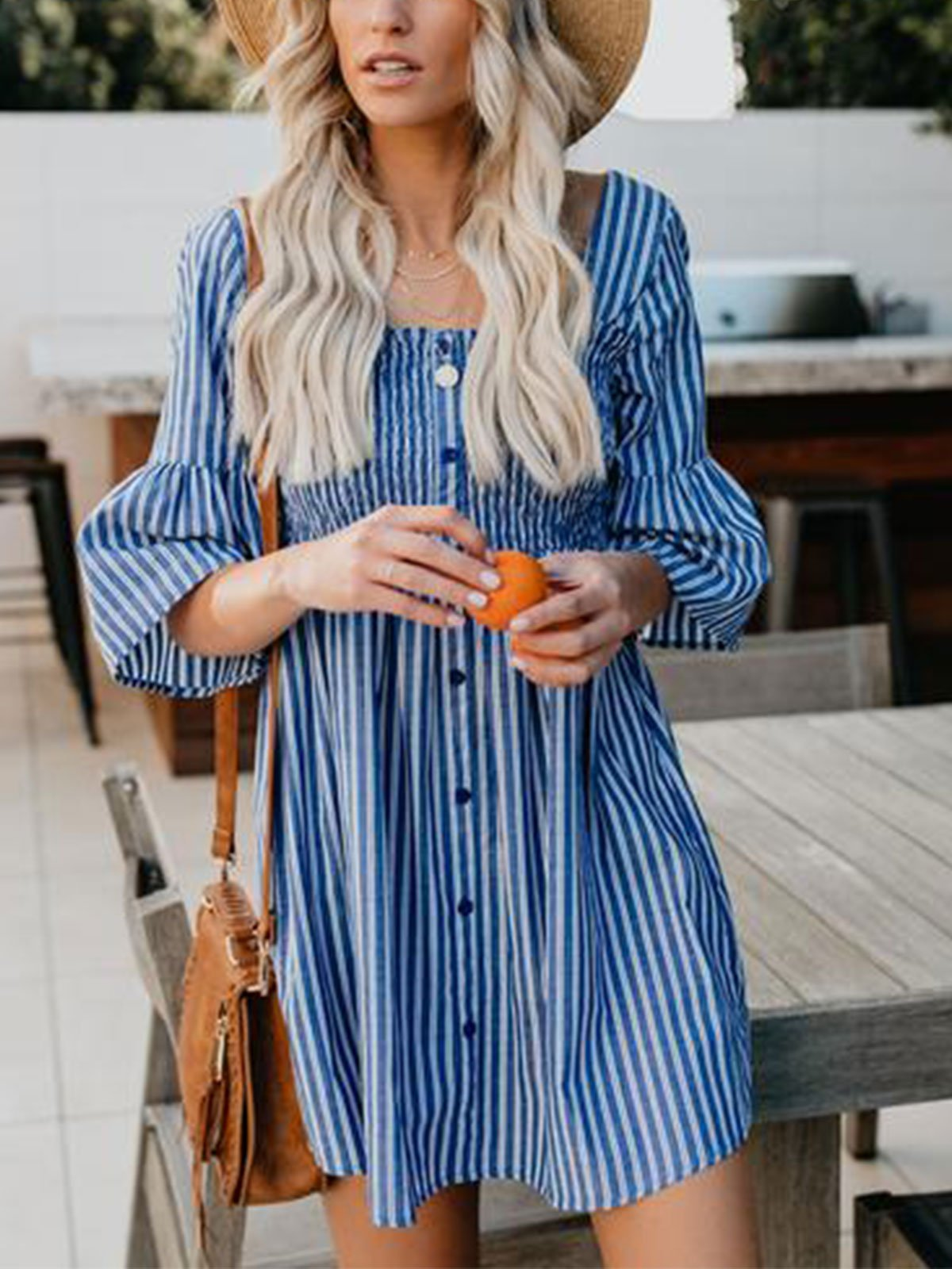 Holiday Beach Casual U-Neck Stripes Dresses