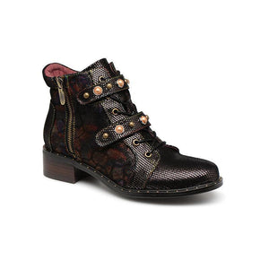 LAURA VITA Retro Genuine Leather Zipper Handmade Original Style Ankle Boots