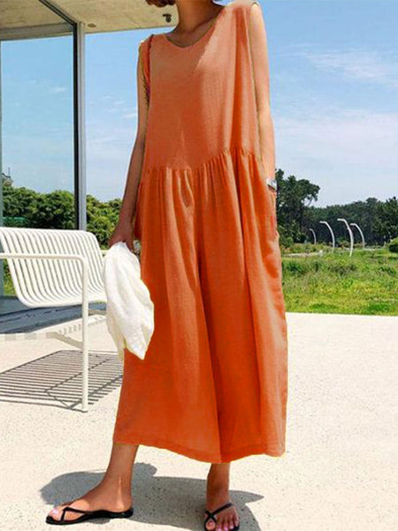 Solid Round Neck Casual Romper Jumpsuits