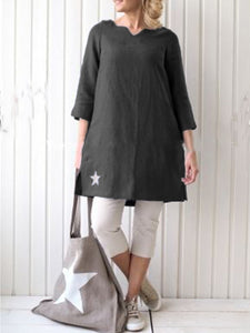 Simple & Basic A-Line Cotton-Blend V Neck Dresses