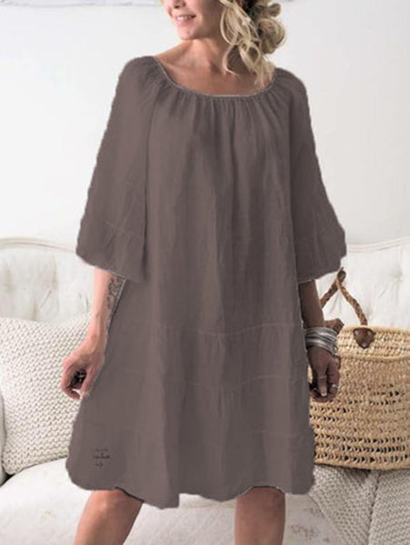 Plus Size Casual Solid 3/4 Sleeve Dresses