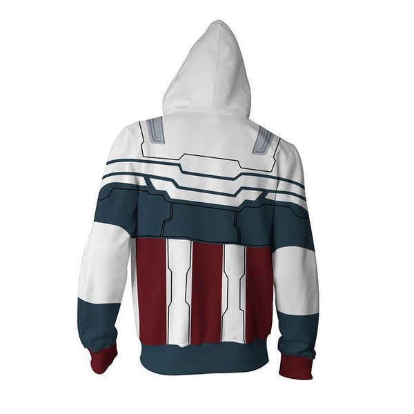 Captain America Steve Rogers Hoodies - CA Sam Wilson Cosplay Zip Up Sweatshirt