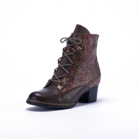 Women Retro Flower Pattern Hand-colored Genuine Leather Lace Up Ankle Boots