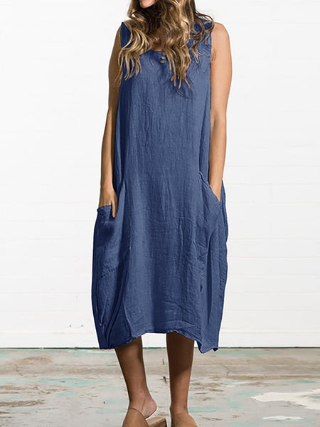 Sleeveless Baggy Plus Size Dress Casual Loose Kaftan Midi Dress