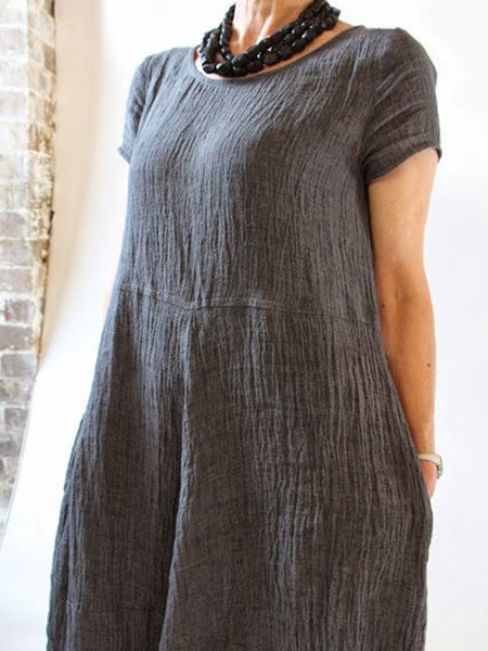 Summer Pockets Round Neck Shift Linen Dresses