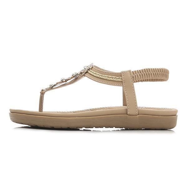 Women's New Summer Flat Bohemian Diamond Sandals