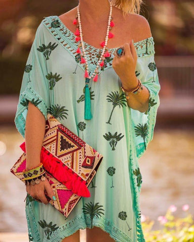 Shift Boho V Neck Dresses