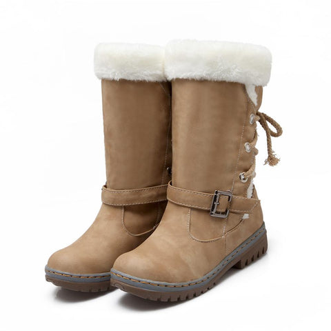 Women Outdoor Faux Fur Lace-up Back Snow Boots