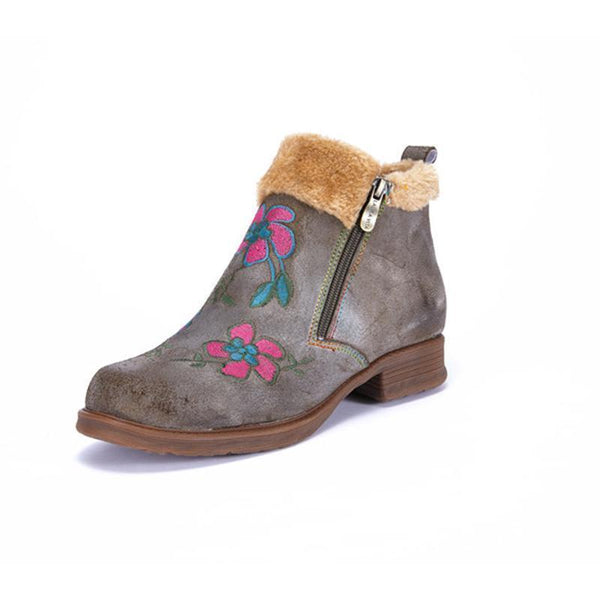 Gently Inside Genuine Leather Comfortable Ankle Boots