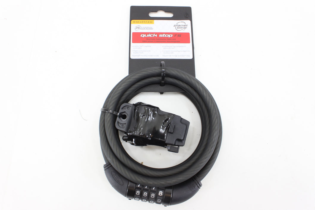 Planet Bike Quick Stop RS Resettable Combination Cable Lock 10mm 6ft (1.8m)