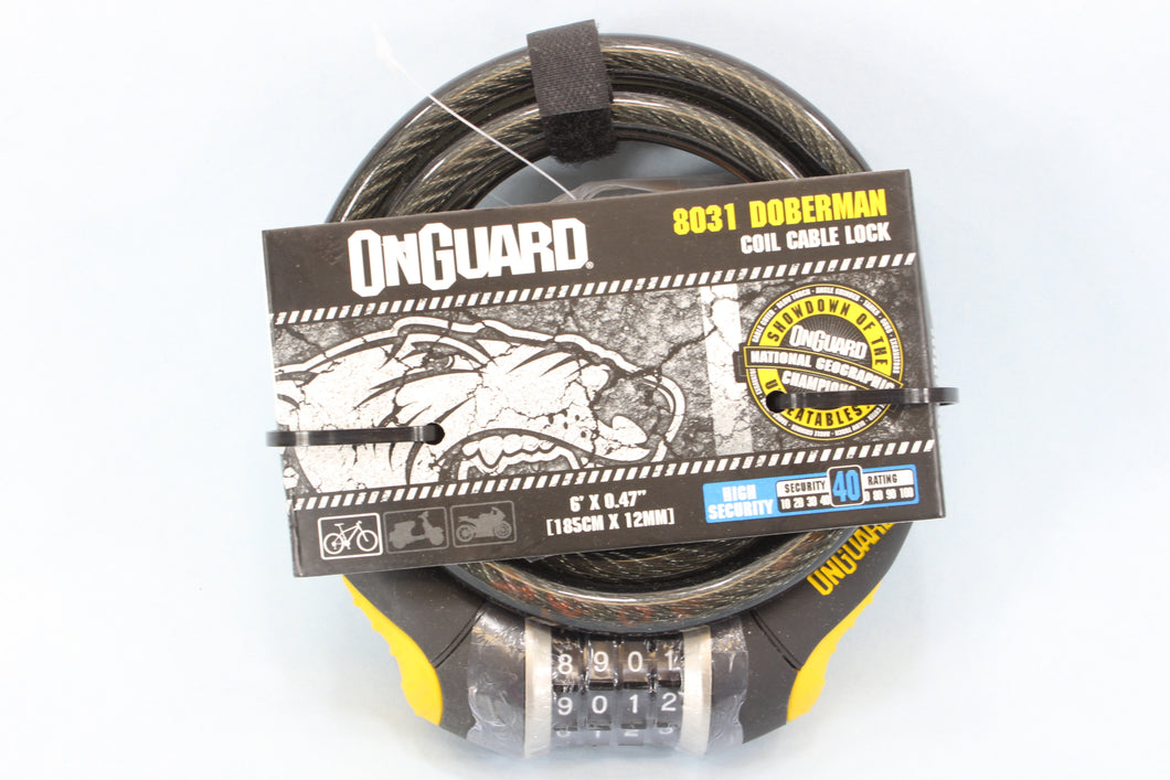 Onguard Doberman Coil Cable Combination Lock 6'x0.47