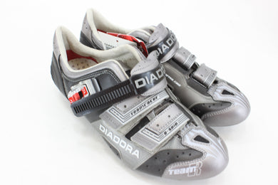 Diadora Teamracer Carbon R Cycling Shoes C1459 Black/Grey Size 42 NOS