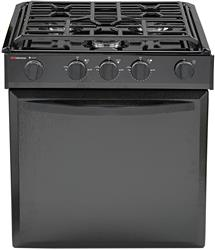 "Suburban Mfg Stove Range - 21-3/4 "" Black Porcelain Top With Black Door - with Piezo Ignition - 3615A - Young Farts RV Parts"