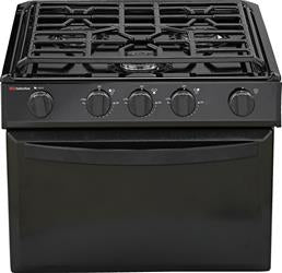 Suburban Mfg Stove Range - 17 Inch Black Porcelain Top With Black Door - with Piezo Ignition - 3608A - Young Farts RV Parts