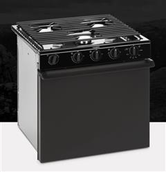 "Dometic Gas Stove - Black Top / Black Steel Door - 22"" - Piezo Ignition - 50442 - Young Farts RV Parts"