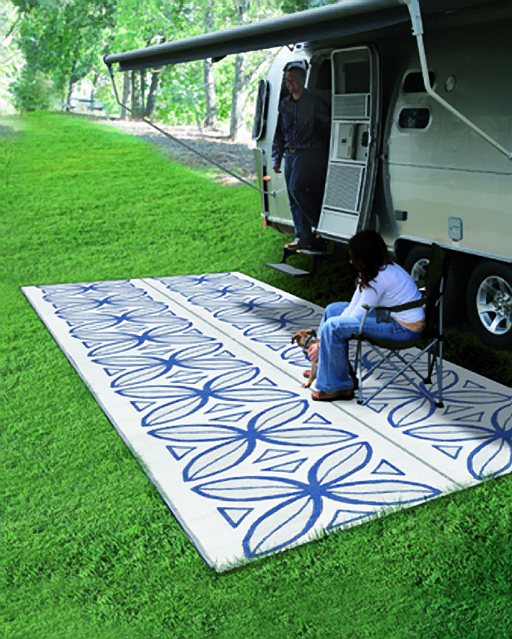Camco 42833 Reversible Awning/Leisure Mat  8' x 20'  -  Botanical, Charcoal/White  Bilingual - Young Farts RV Parts