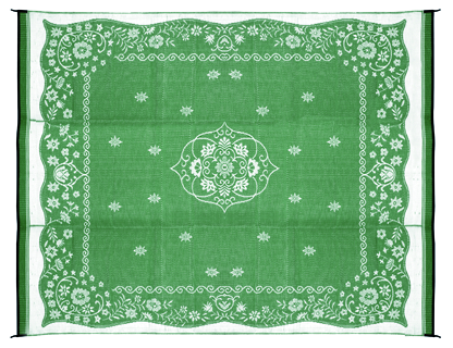 Camco 42850 Outdoor Mat  9' x 12'  - Oriental, Green/White  Bilingual - Young Farts RV Parts