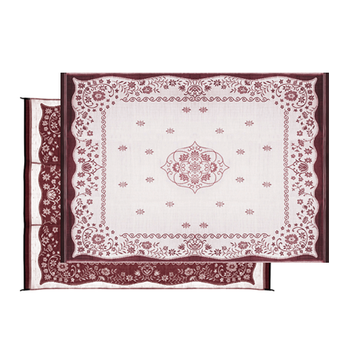 Camco 42852 Outdoor Mat  9' x 12'  - Oriental, Burgundy/White  Bilingual - Young Farts RV Parts