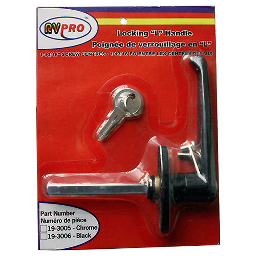 LOCKING L HANDLE-CHROME # - Young Farts RV Parts