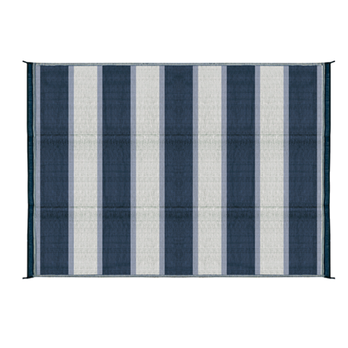 Camco 42871 Outdoor Mat  6' x 9'  - Stripe, Blue/White  Bilingual - Young Farts RV Parts