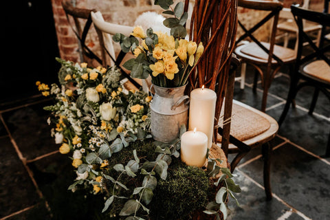 Yellow Flowers Barn Wedding
