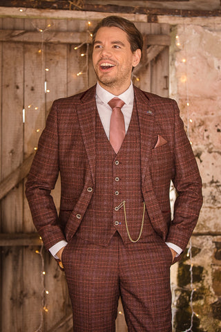 Cavani Carly Wine Tweed Suit