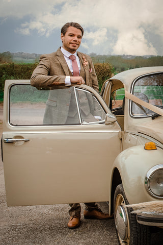 Barn Chic Wedding Groom VW Beetle