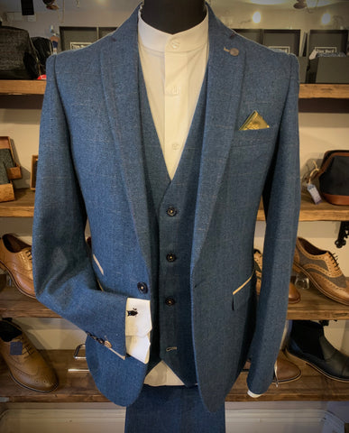 Marc Darcy Dion Blue Tweed Suit Suave Owl