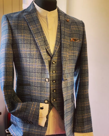 Robert Simon Marcello Blue Tweed Checked Suit Suave Owl
