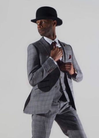 Robert Simon Grey Windowpane Check Suit