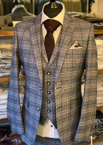 Robert Simon Marcello Blue Tweed Suit