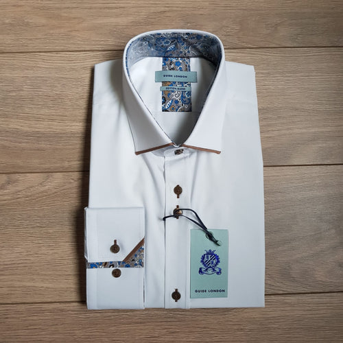Guide London White Tan Trim Shirt