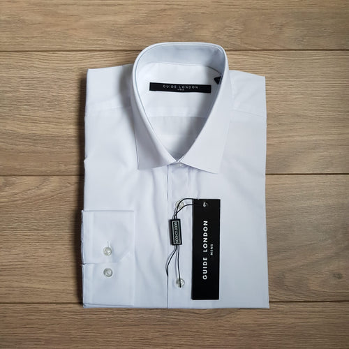 Guide London White Basic Fitted Shirt