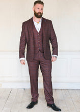 Load image into Gallery viewer, Cavani Carly Wine Tweed 3-Piece Suit