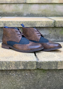 Curtis Brogue Boot Brown/Navy