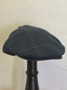 Flat Cap Navy Tweed Check