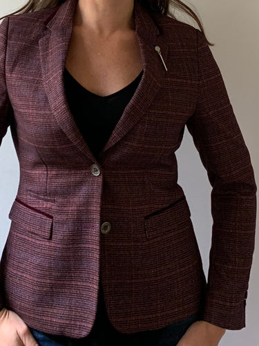 Ladies Carly Wine Tweed Style Blazer